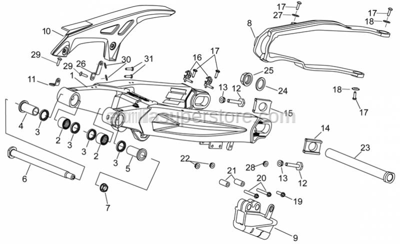 Aprilia - Rear wheel spindle M25 L=266,5