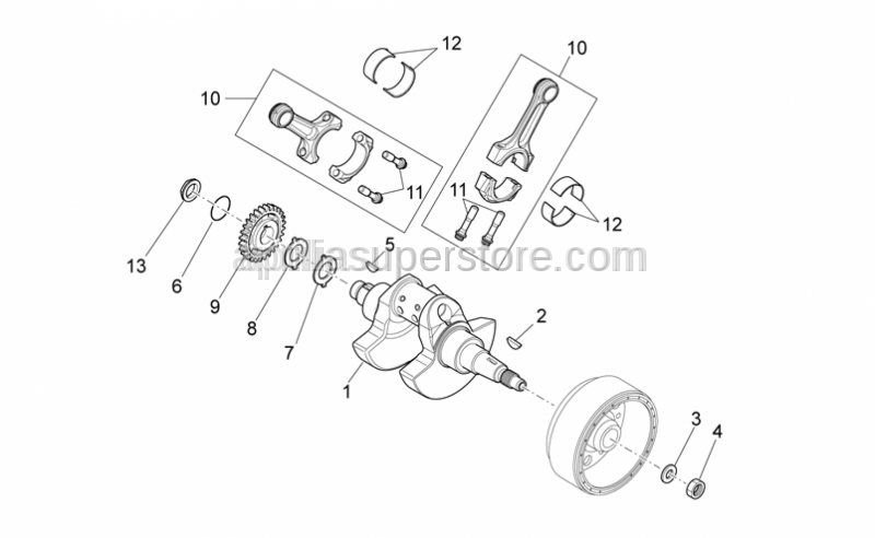 Aprilia - Pinion, Z22, Drive shaft, RXV/SXV 2006-2011