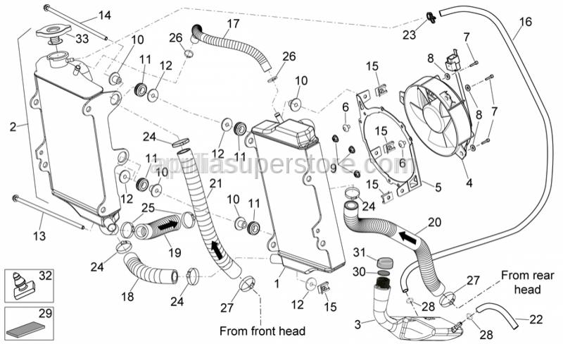 Aprilia - Screw w/ flange M6x122