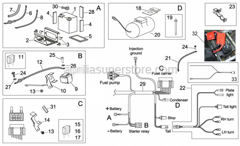Aprilia - Relay battery wiring