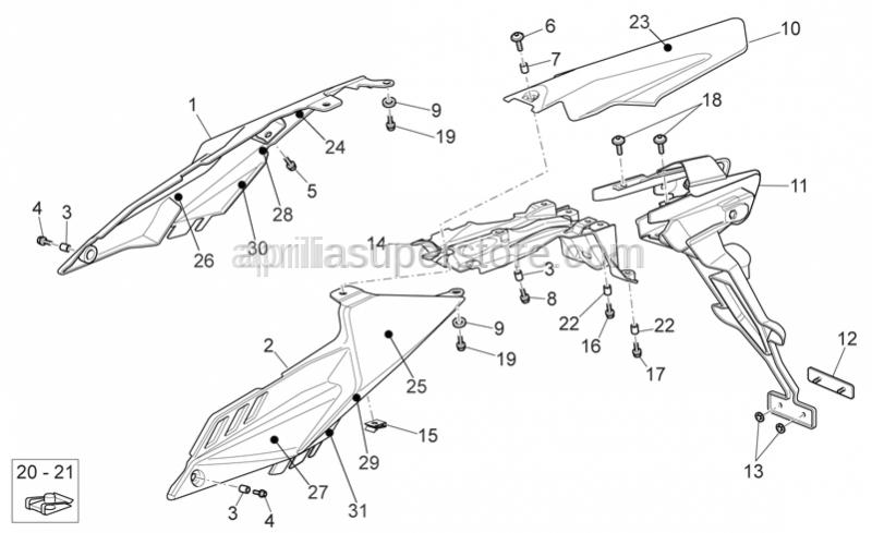Aprilia - Screw w/ flange M6x16 inox