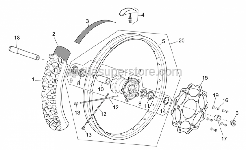 Aprilia - Front wheel 1,6x21