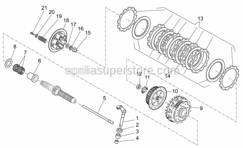 Aprilia - Clutch relese shaft