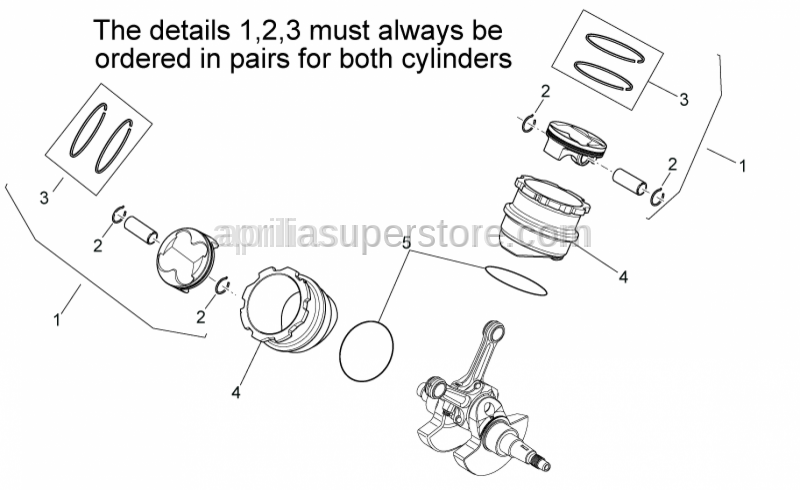 Aprilia - Piston rings set D80