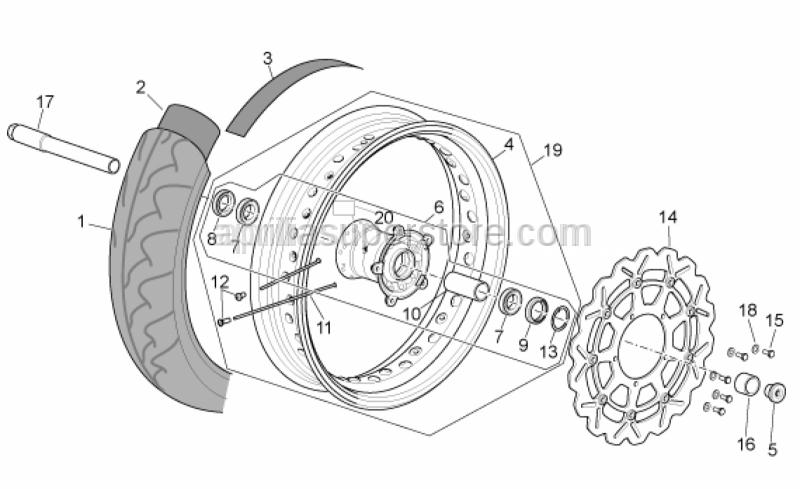 Aprilia - Front wheel spindle L=221,5