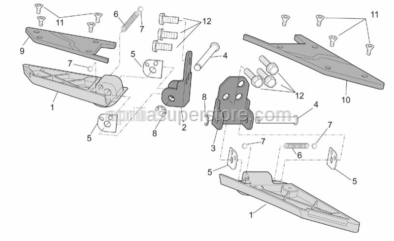 Aprilia - Rear footrests, pair