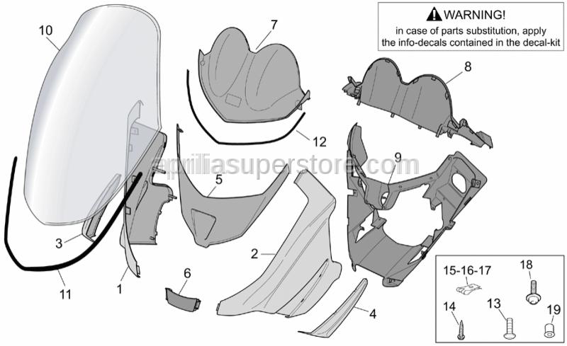 Aprilia - Front shield lockup, grey