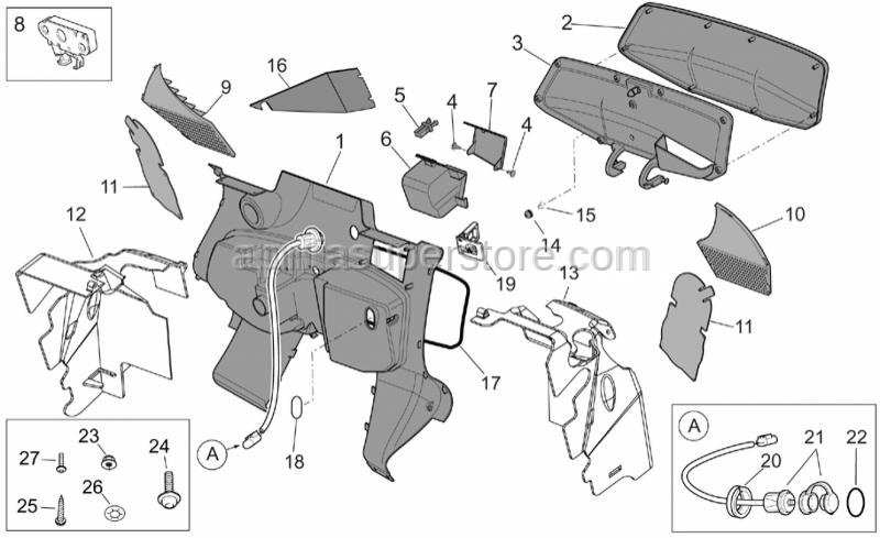 Aprilia - Glove box grille