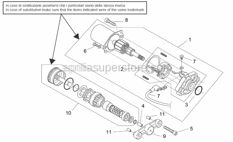 Aprilia - Starter motor,DUCATI ENERGIA version