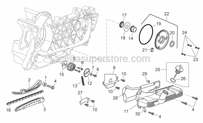 Aprilia - Timing system chain pinion cpl