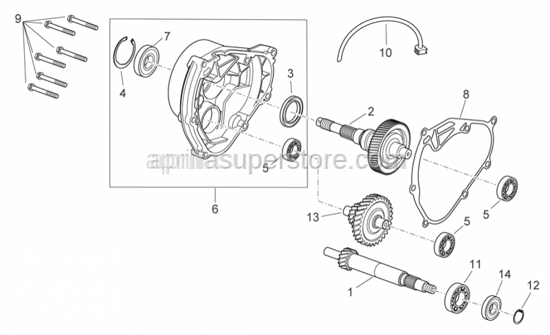 Aprilia - Rear wheel axis cpl.