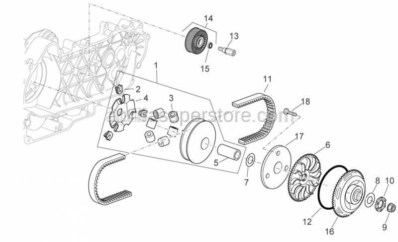 Aprilia - Pin roller-set