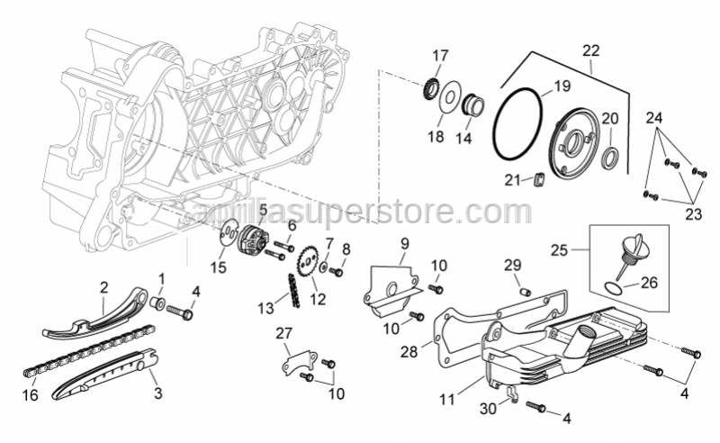Aprilia - GASKET BETWEEN CRANKCASE & OIL PUMP