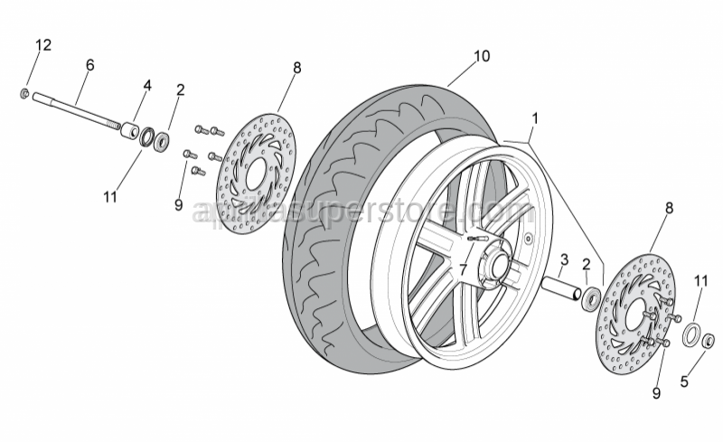 Aprilia - Front wheel spindle