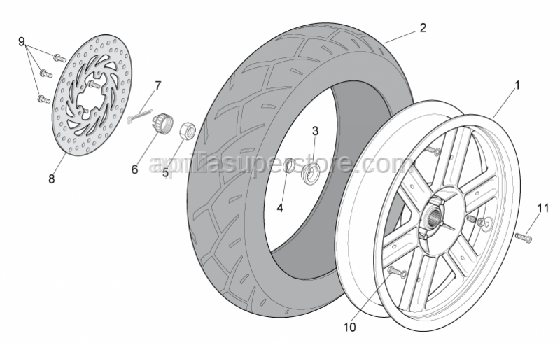 Aprilia - Rear wheel, grey