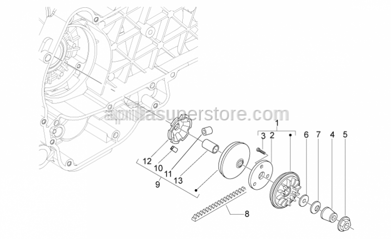 Aprilia - DRIVE PULLEY ASSY WITH DEFLECTOR SHEET