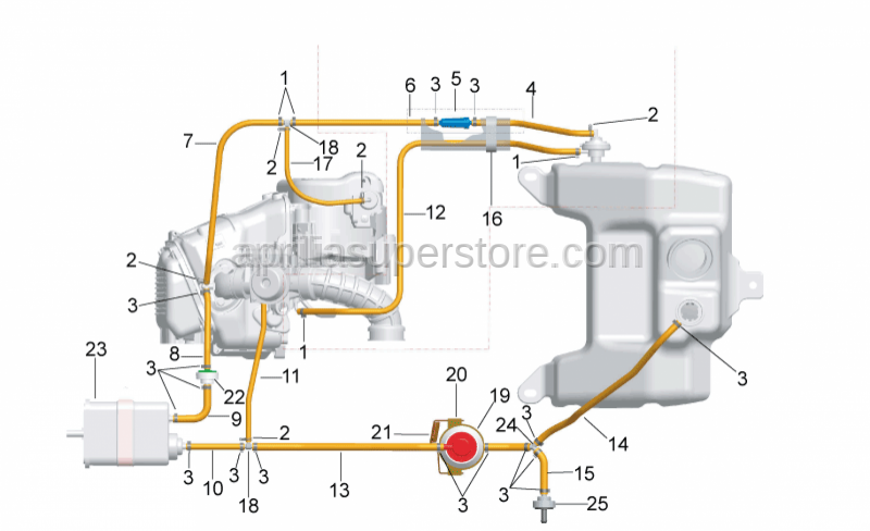 Aprilia - pipe L=350mm