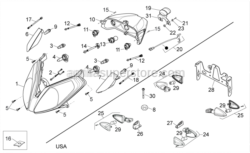 Aprilia - Headlamp, assy