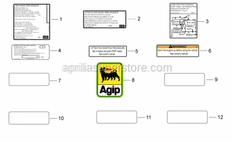 Aprilia - INSTRUCTION STICKER FUEL