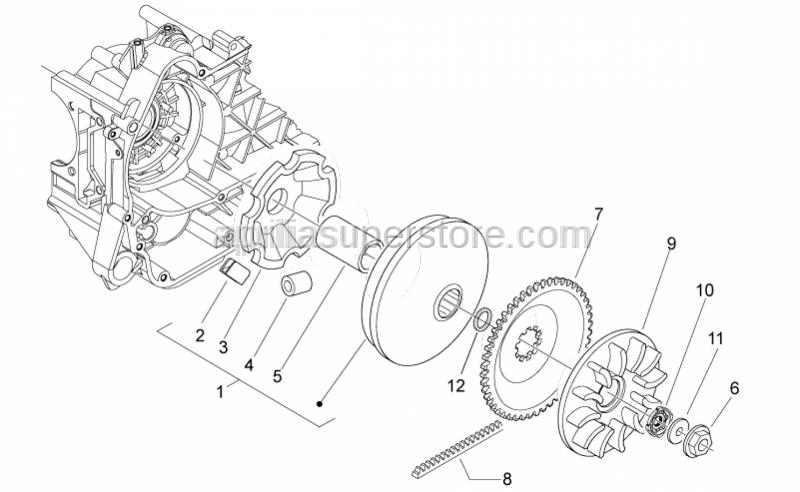 Aprilia - Half-pulley assy., driving 30 KM/H