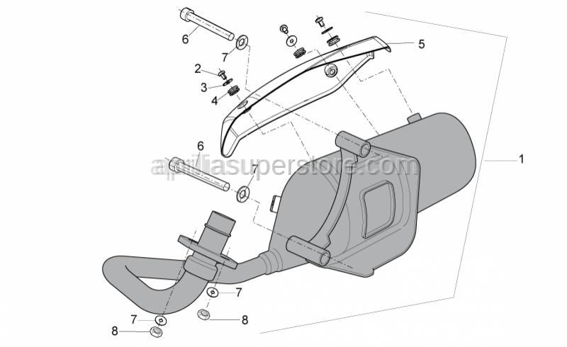 Aprilia - Exhaust pipe, cpl.