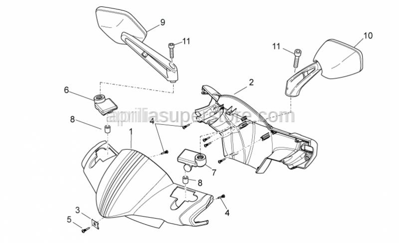 Aprilia - Rear handlebars cover