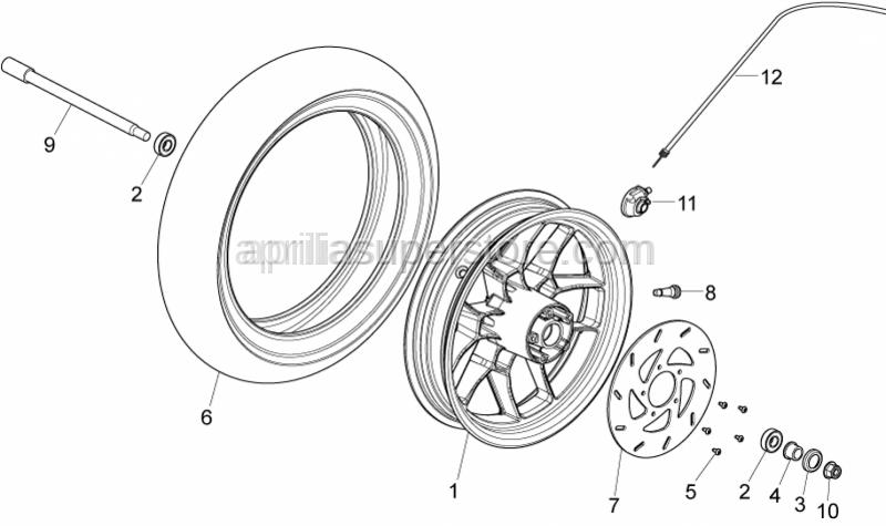 Aprilia - Front wheel axle