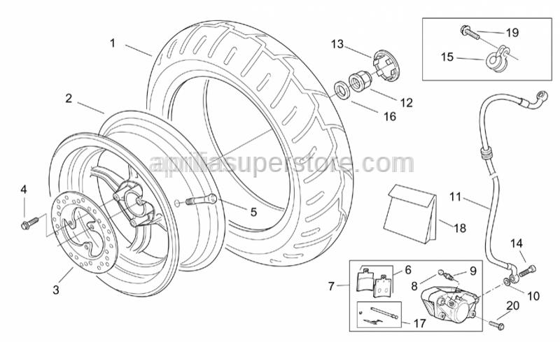 Aprilia - Rear brake caliper, gold