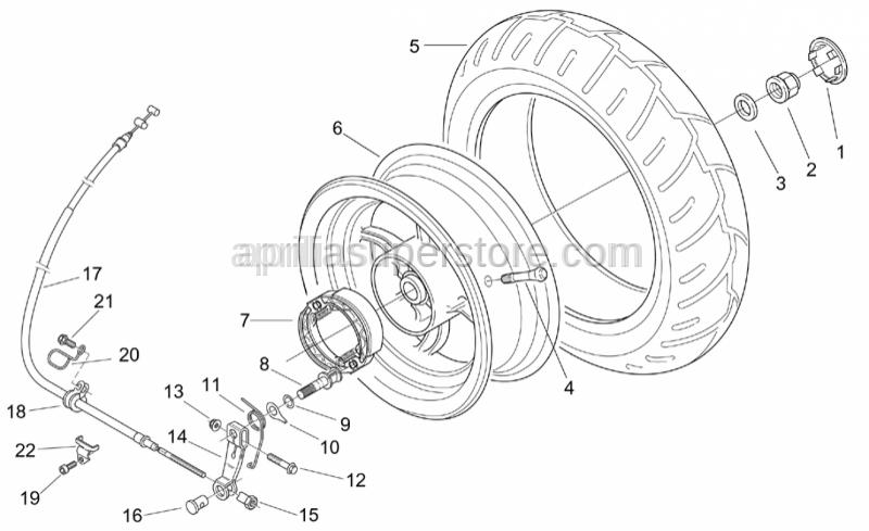 Aprilia - Rear brake lever register