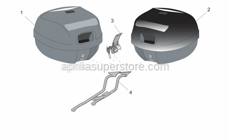 Aprilia - Top box, embossed New-C 32L