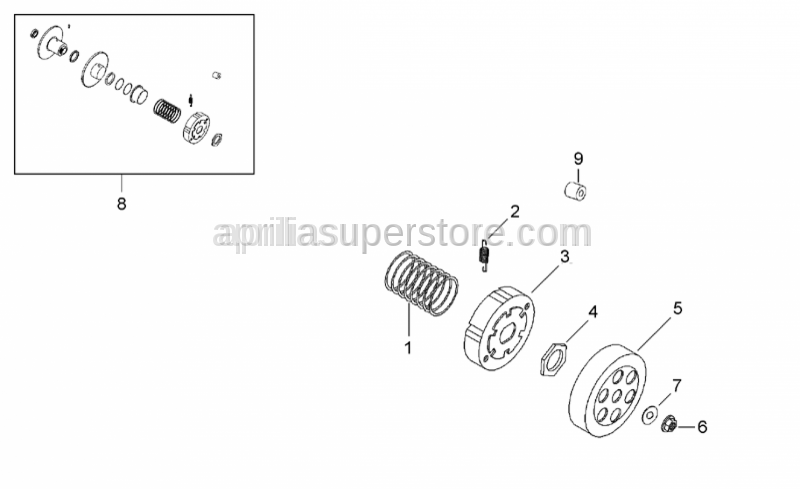 Aprilia - Nut M10x1 H=8