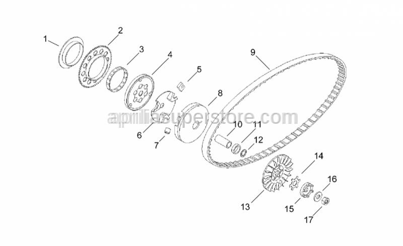 Aprilia - Starter motor gear Z=71