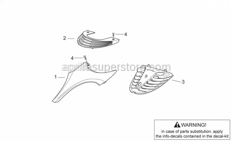 Aprilia - Front fairing, b.yel.+decal