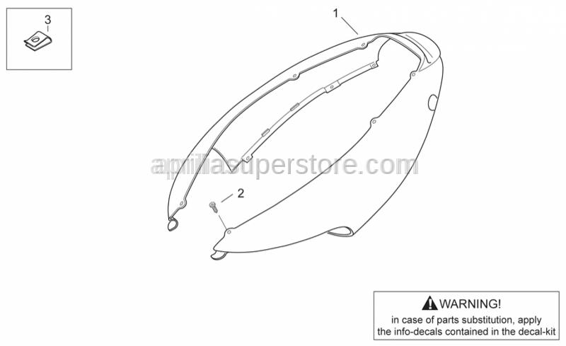 Aprilia - Rear fairing, grey+decal