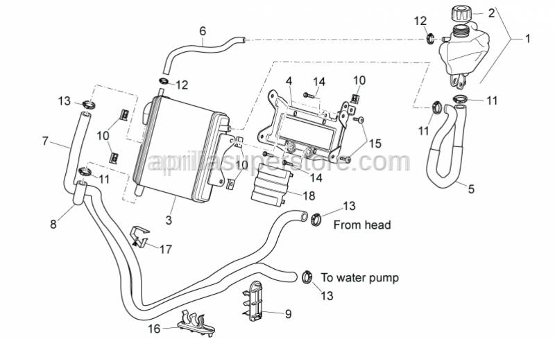 Aprilia - Water cooler-pump tube