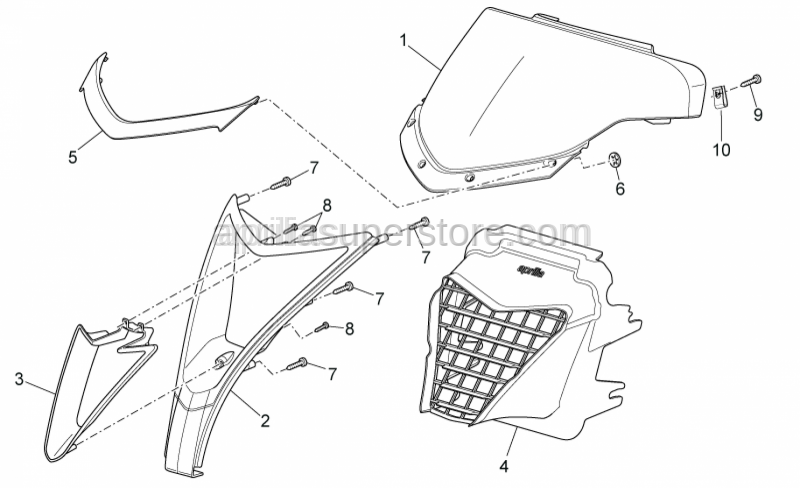 Aprilia - Radiator grille, grey