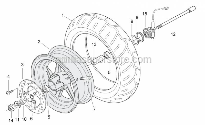 Aprilia - Low self-locking nut M12x1,25