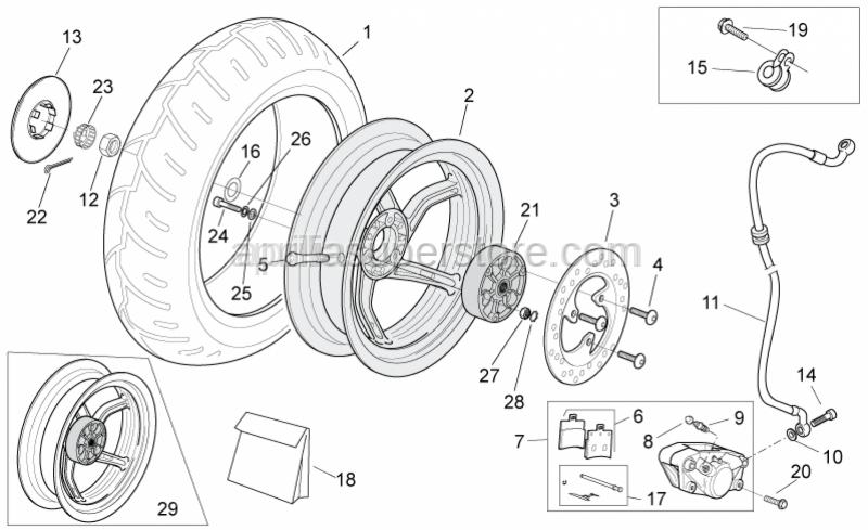 Aprilia - Rear brake caliper, gold D30