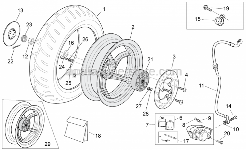 Aprilia - Lock-washer for rear wheel axle -PXE