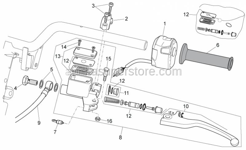 Aprilia - Rear master cylinder D.12,7