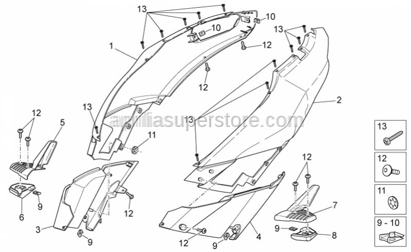 Aprilia - RH Half-rear fairing