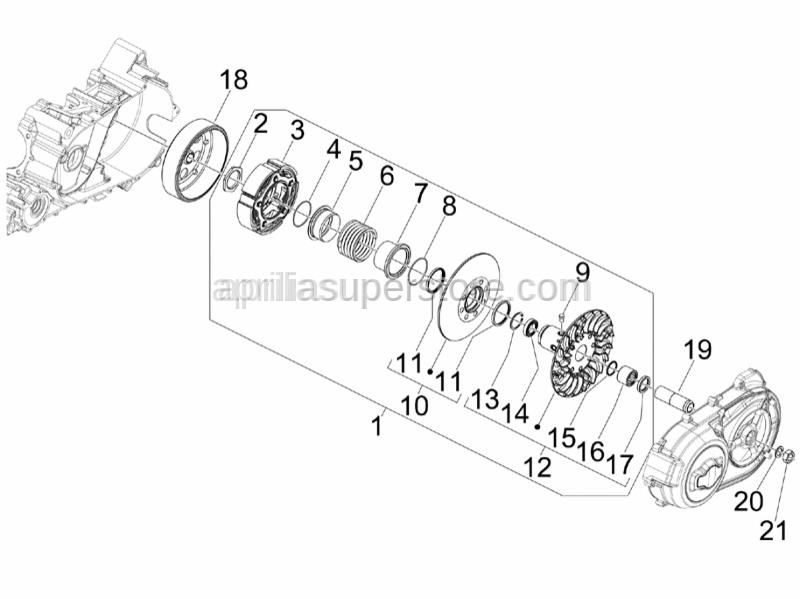 Aprilia - Driven mobile half-pulley