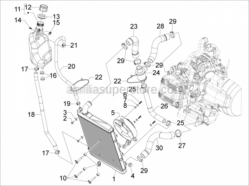Aprilia - Thermostat valve set 85C