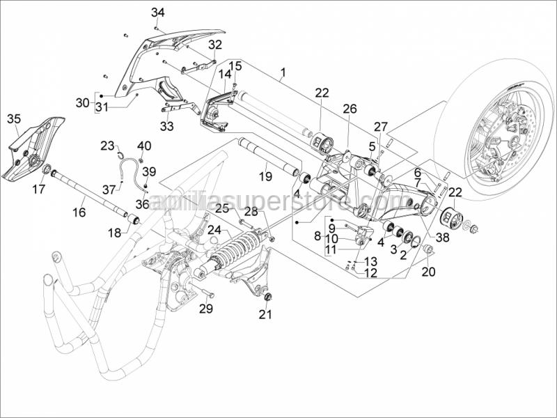 Aprilia - Metric screw M6x22