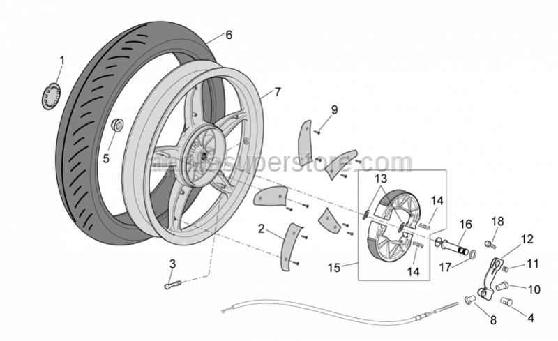 Aprilia - Brake shoes return spring