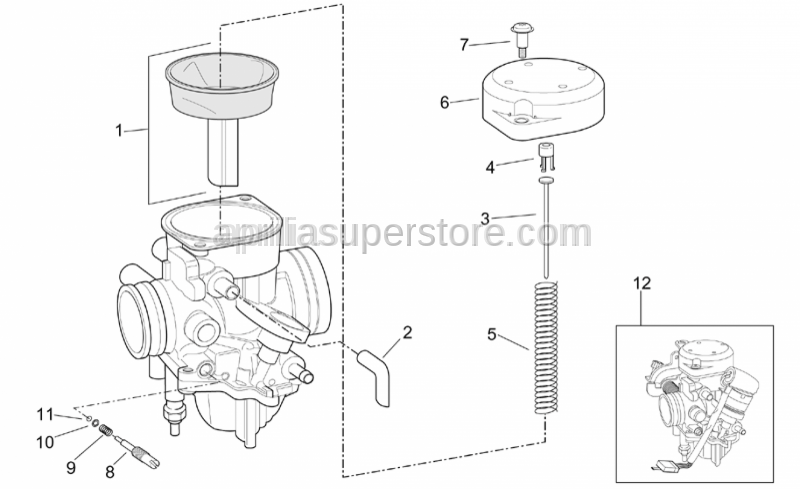 Aprilia - Carburettor 200cc version, European approval (EURO 1 limits) [E1]