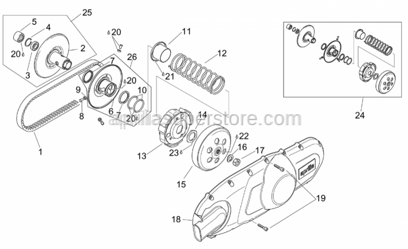 Aprilia - Roller bearing 20x29x18