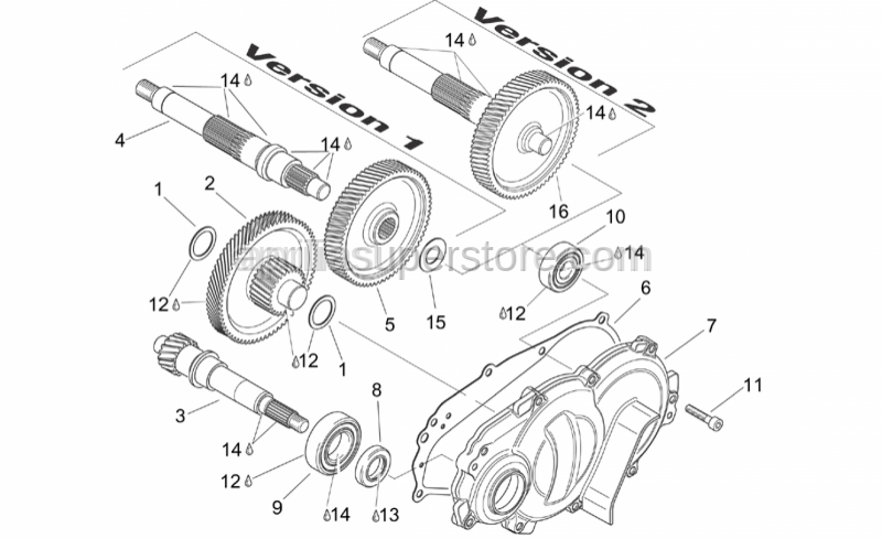 Aprilia - Drive shaft, no thrust washer