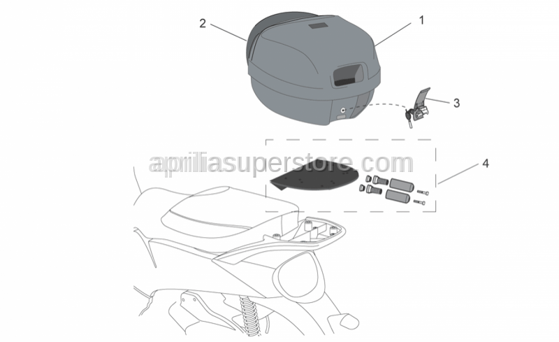 Aprilia - Top box, embossed New-C 32L