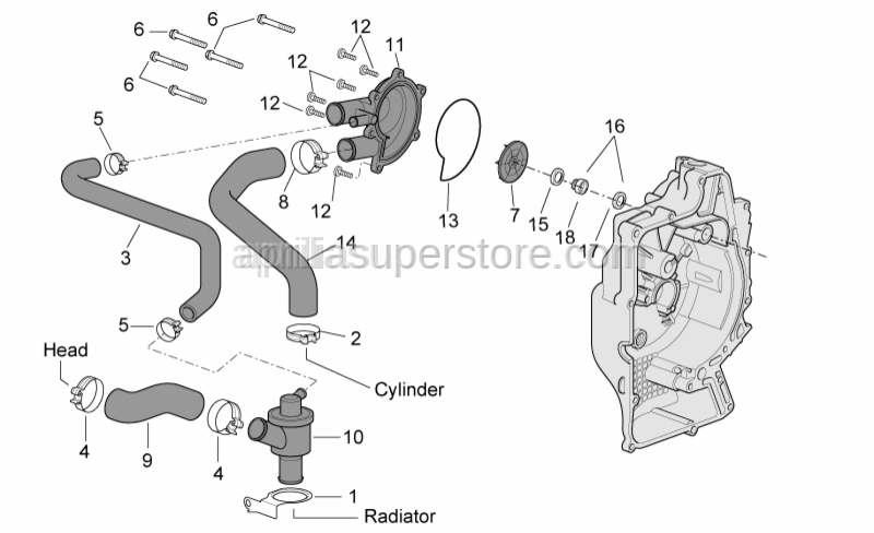 Aprilia - gasket for waterpump cover